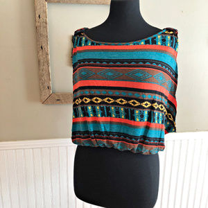 living doll Tops - Living Doll  Crop Tank Top Large Aztec Boho Colors